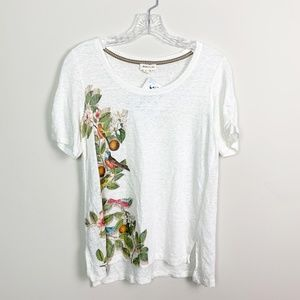 Anthropologie   floral print graphic t-shirt white